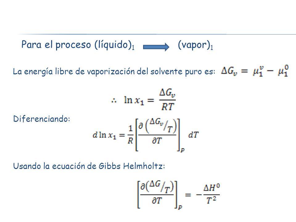 Para el proceso (líquido)1 (vapor)1
