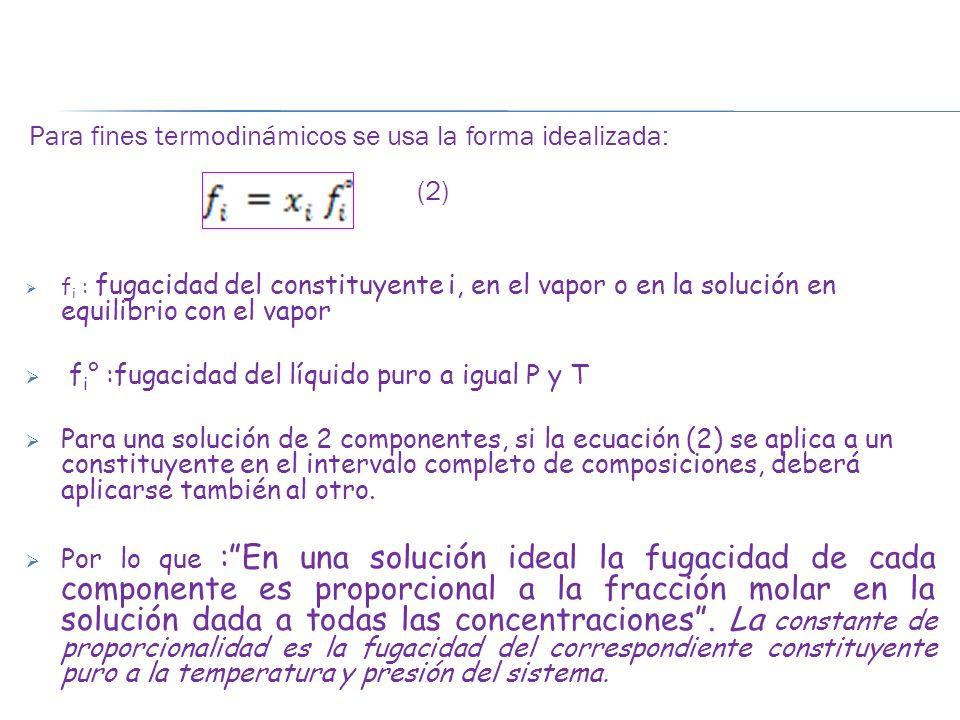 (2) fi° :fugacidad del líquido puro a igual P y T
