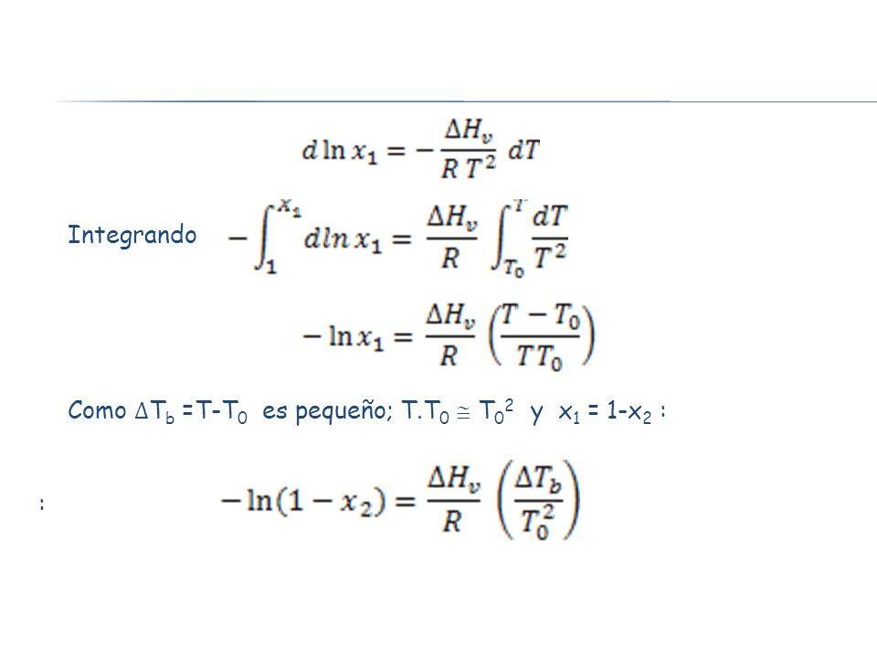 Integrando Como ∆Tb =T-T0 es pequeño; T.T0  T02 y x1 = 1-x2 : :