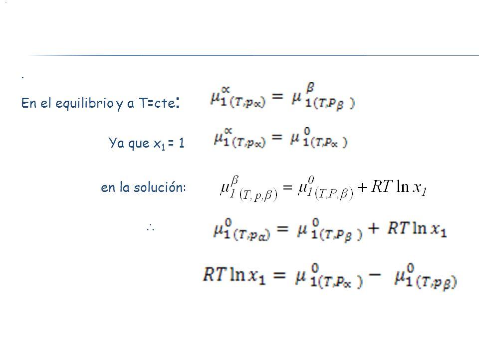 . En el equilibrio y a T=cte: Ya que x1 = 1 en la solución: 
