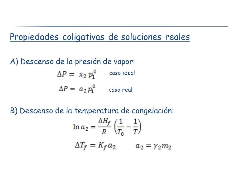 Propiedades coligativas de soluciones reales