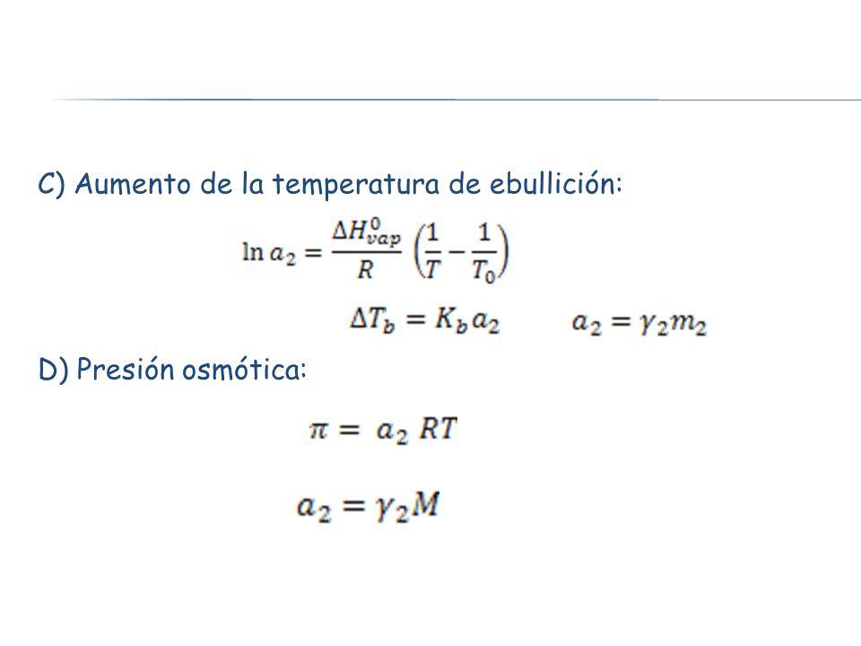 C) Aumento de la temperatura de ebullición: