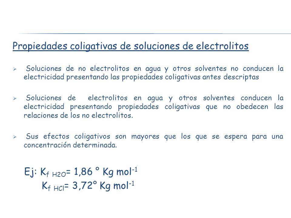 Propiedades coligativas de soluciones de electrolitos