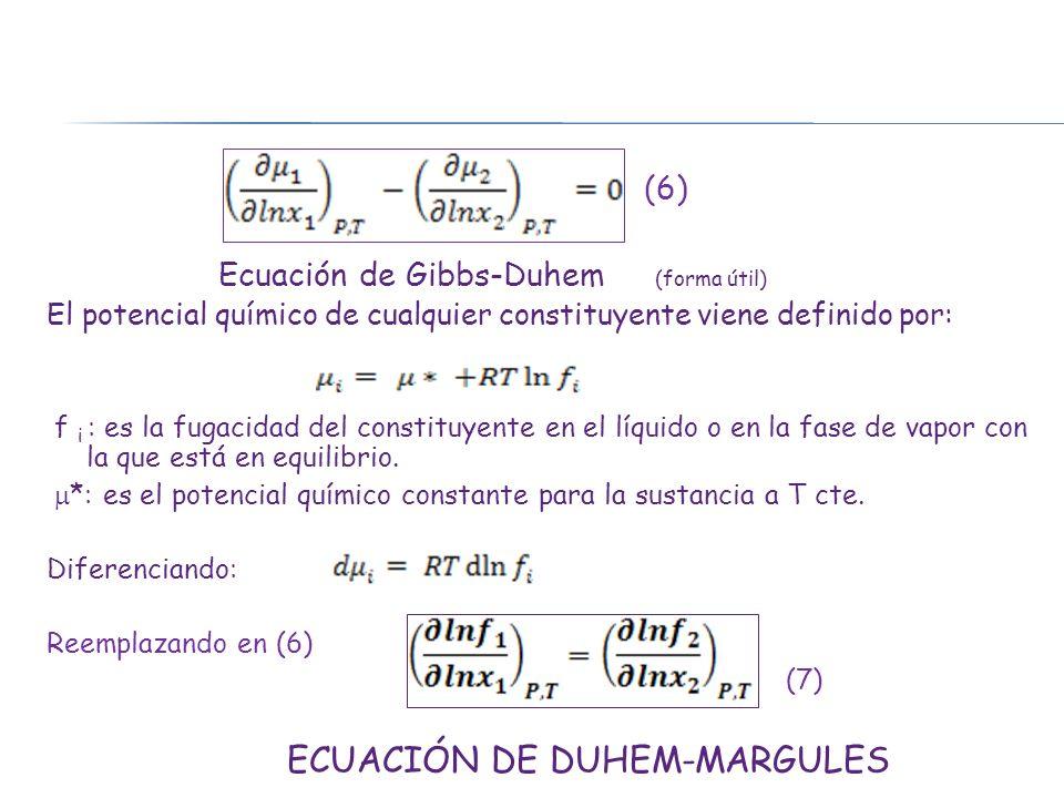 Ecuación de Gibbs-Duhem (forma útil)