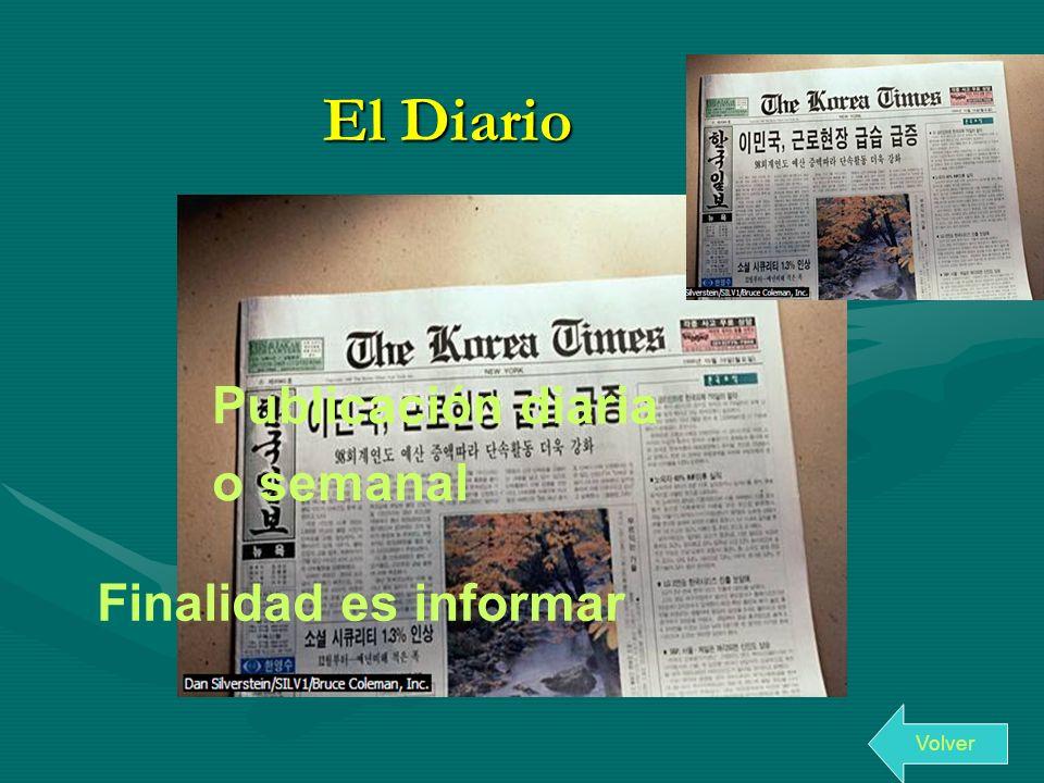 El Diario Publicación diaria o semanal Finalidad es informar Volver