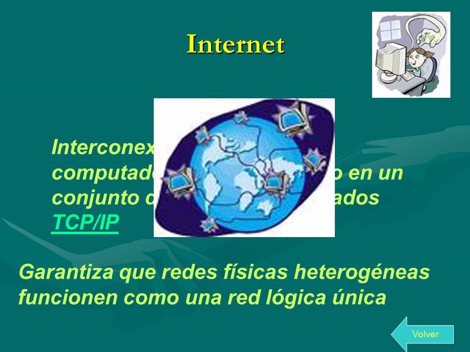 Internet Interconexión de redes de computadoras implementado en un conjunto de protocolos llamados TCP/IP.
