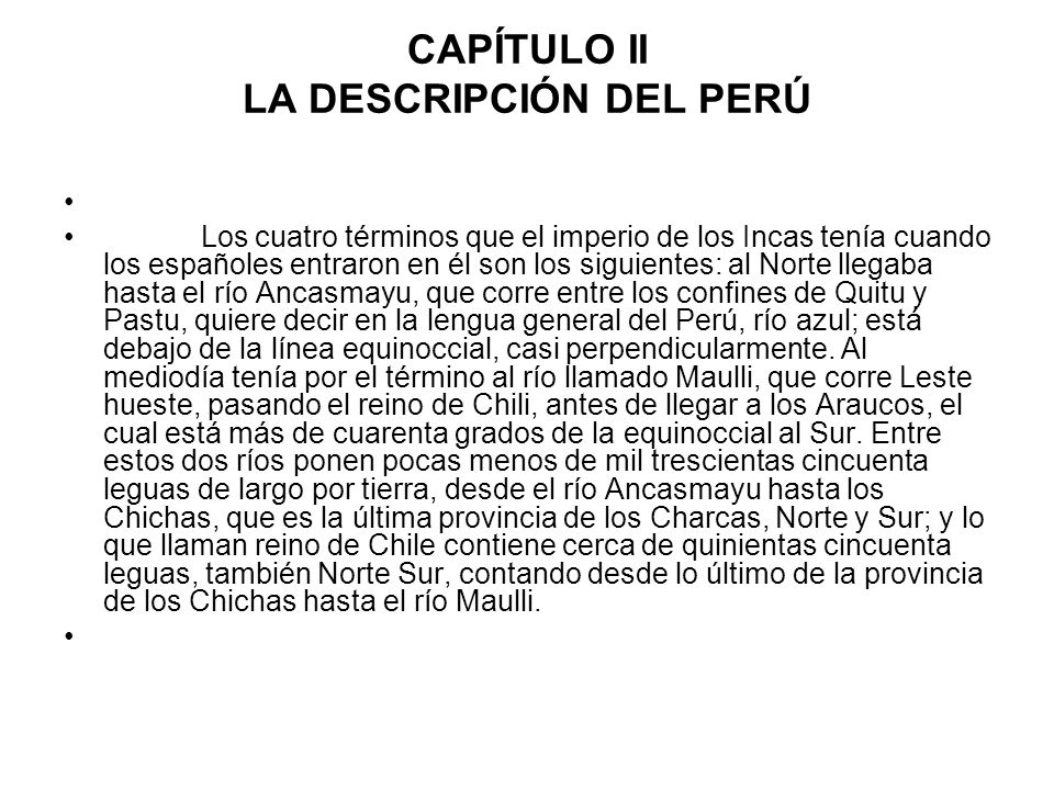 CAPÍTULO II LA DESCRIPCIÓN DEL PERÚ