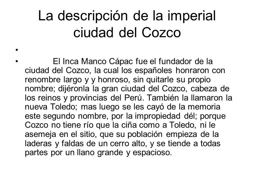 La descripción de la imperial ciudad del Cozco