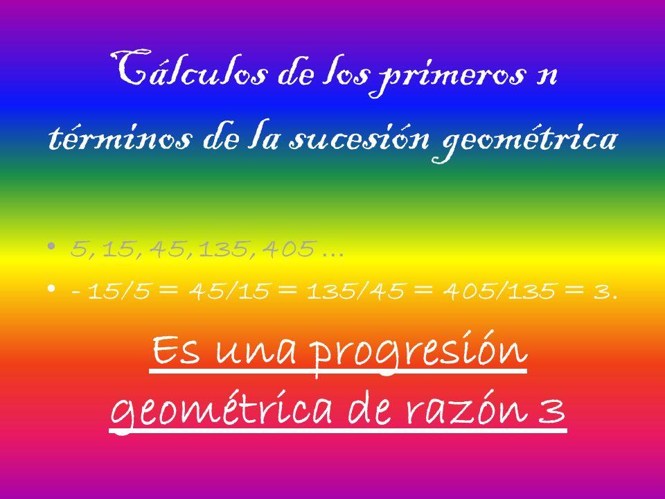 Cálculos de los primeros n términos de la sucesión geométrica