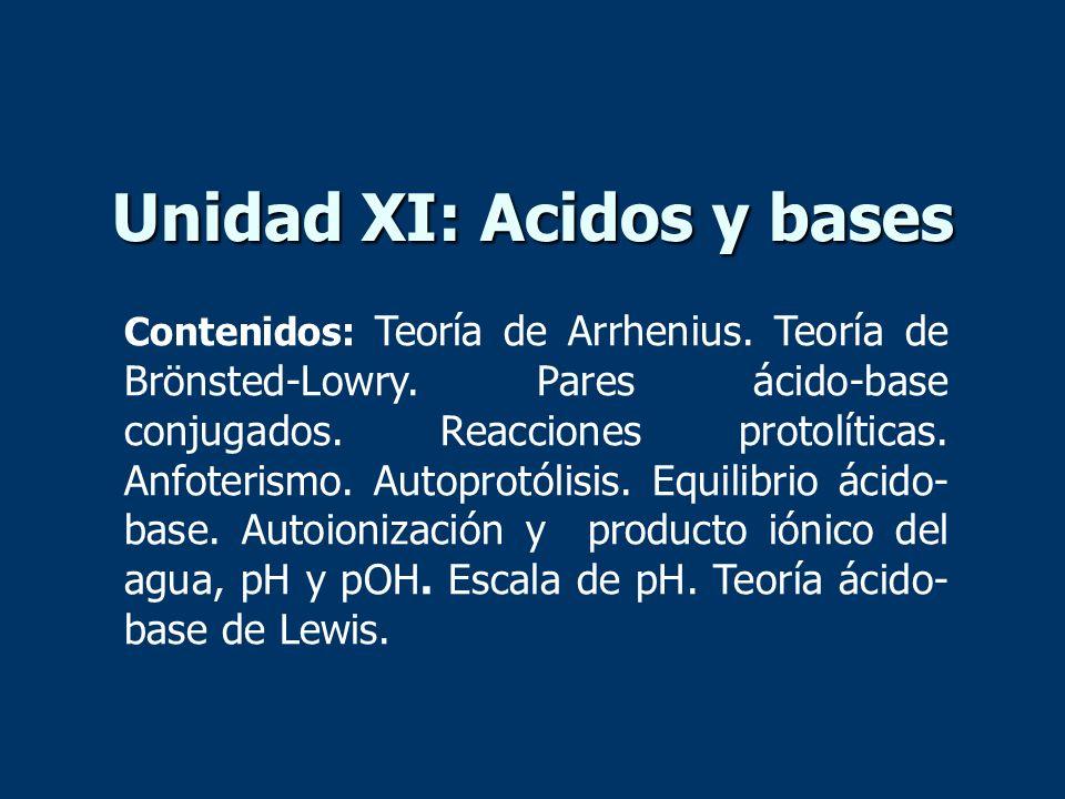 Unidad XI: Acidos y bases