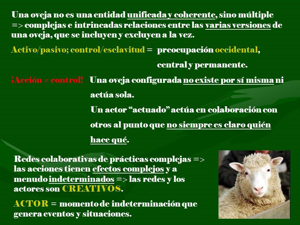 Una oveja no es una entidad unificada y coherente, sino múltiple = complejas e intrincadas relaciones entre las varias versiones de una oveja, que se incluyen y excluyen a la vez.