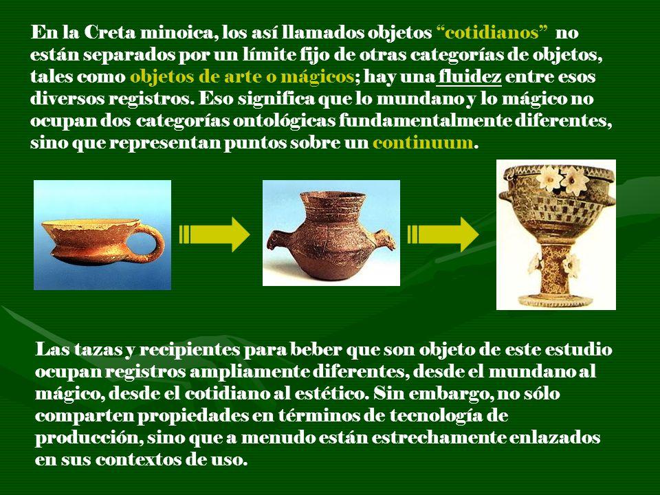 En la Creta minoica, los así llamados objetos cotidianos no están separados por un límite fijo de otras categorías de objetos, tales como objetos de arte o mágicos; hay una fluidez entre esos diversos registros. Eso significa que lo mundano y lo mágico no ocupan dos categorías ontológicas fundamentalmente diferentes, sino que representan puntos sobre un continuum.
