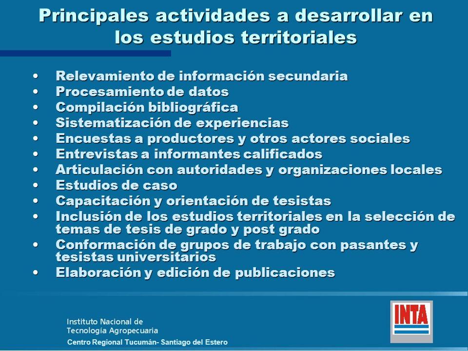 Principales actividades a desarrollar en los estudios territoriales