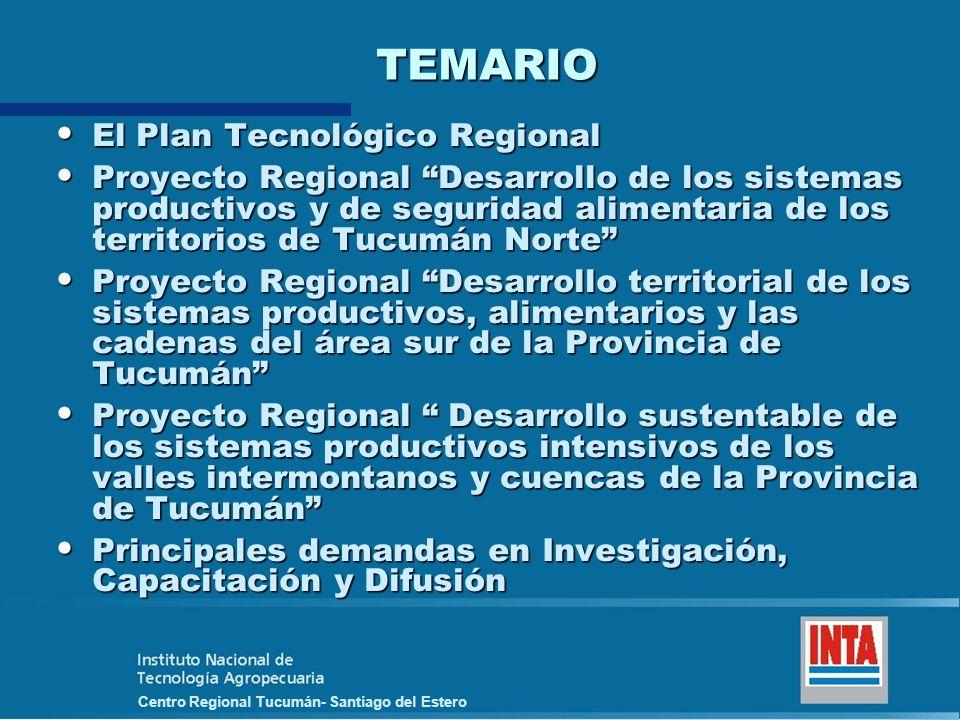 TEMARIO El Plan Tecnológico Regional