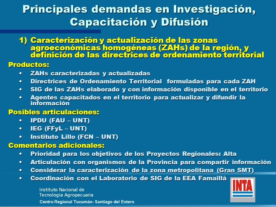 Principales demandas en Investigación, Capacitación y Difusión