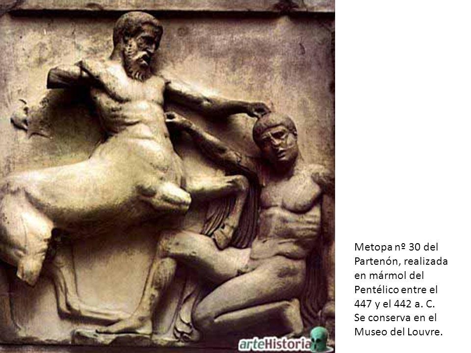 Metopa nº 30 del Partenón, realizada en mármol del Pentélico entre el 447 y el 442 a.