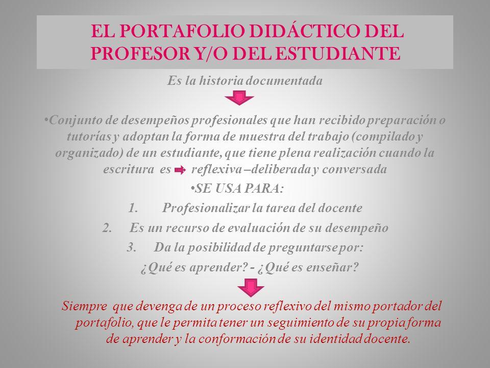 EL PORTAFOLIO DIDÁCTICO DEL PROFESOR Y/O DEL ESTUDIANTE