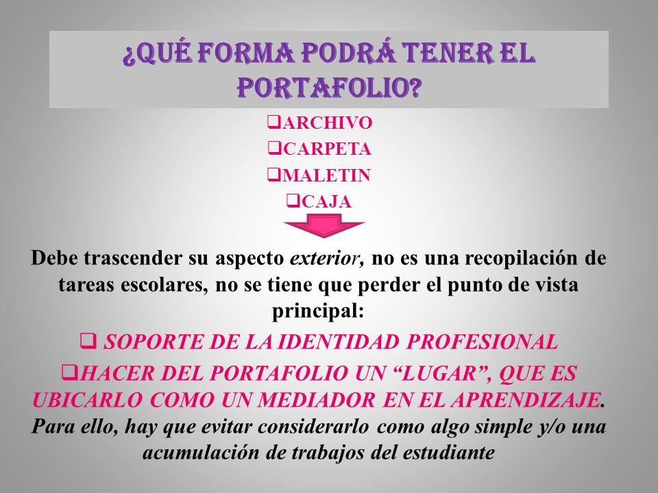 ¿QUÉ FORMA PODRÁ TENER EL PORTAFOLIO