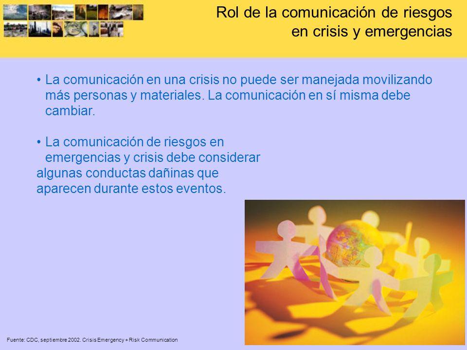 Rol de la comunicación de riesgos en crisis y emergencias