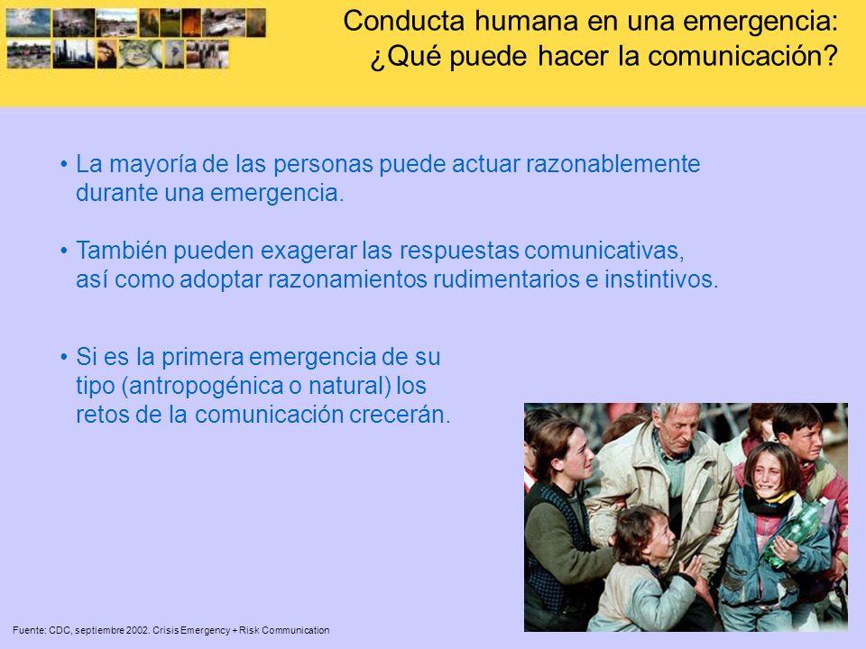 Conducta humana en una emergencia: ¿Qué puede hacer la comunicación