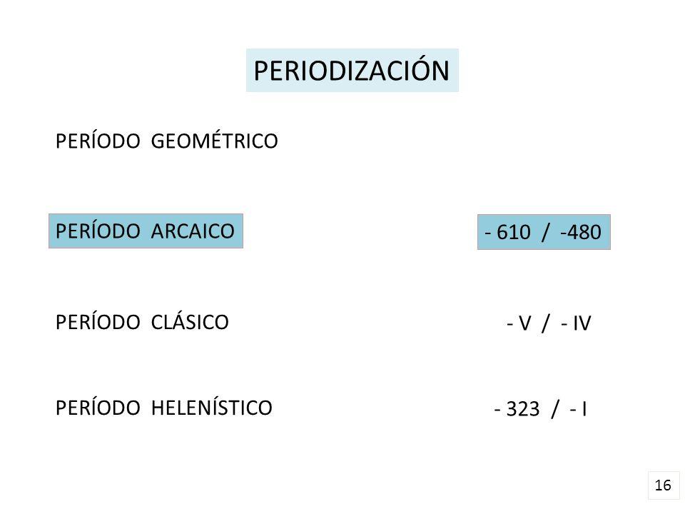 PERIODIZACIÓN PERÍODO GEOMÉTRICO PERÍODO ARCAICO - 610 / -480