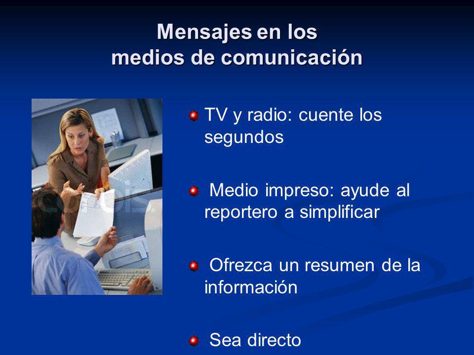 Mensajes en los medios de comunicación