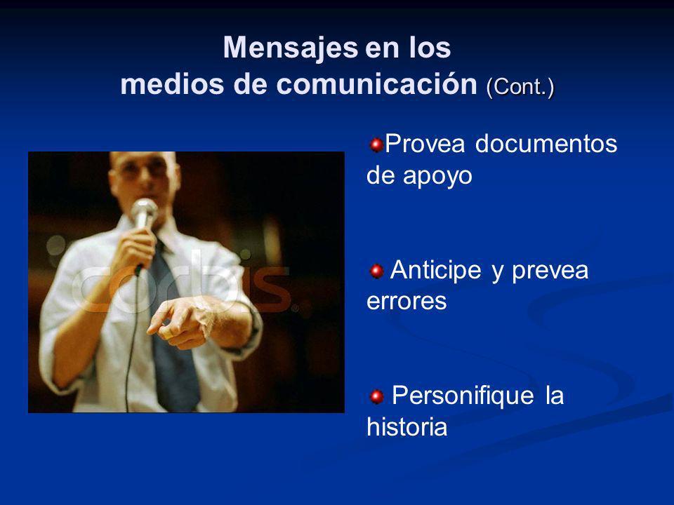 Mensajes en los medios de comunicación (Cont.)