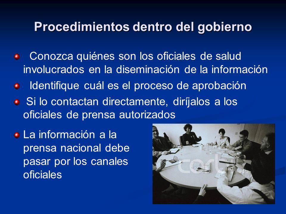 Procedimientos dentro del gobierno