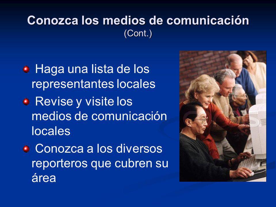 Conozca los medios de comunicación (Cont.)