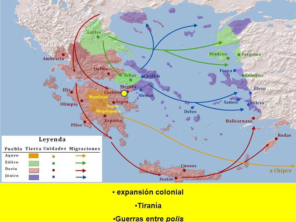 expansión colonial Tiranía Guerras entre polis