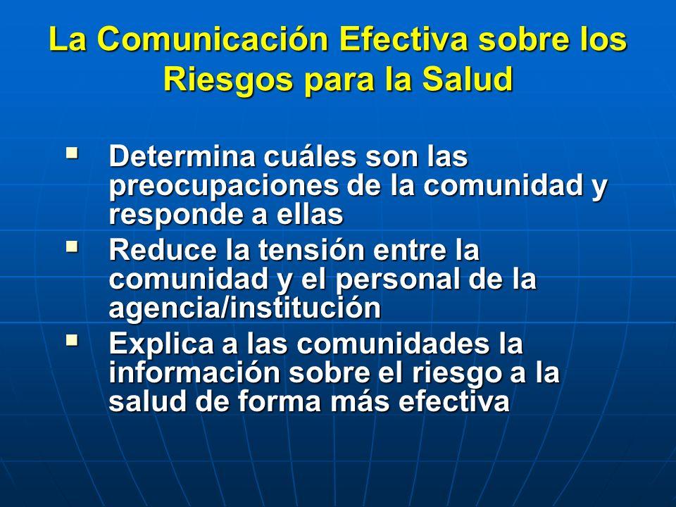 La Comunicación Efectiva sobre los Riesgos para la Salud