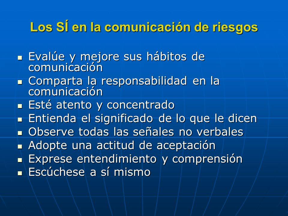 Los SÍ en la comunicación de riesgos