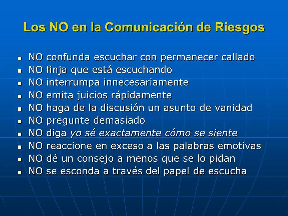 Los NO en la Comunicación de Riesgos