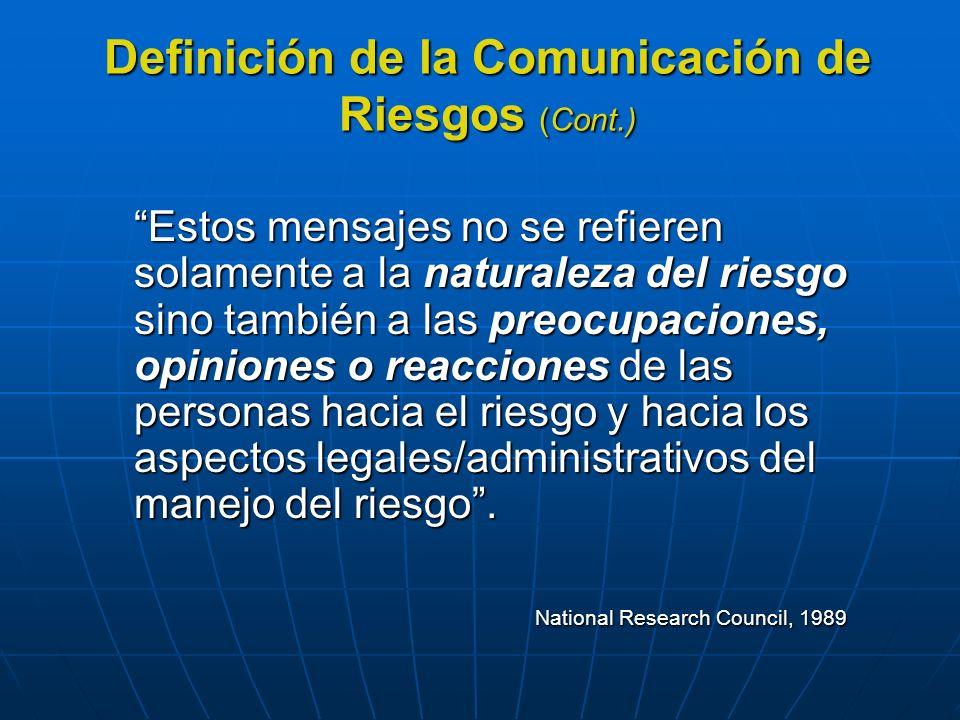 Definición de la Comunicación de Riesgos (Cont.)