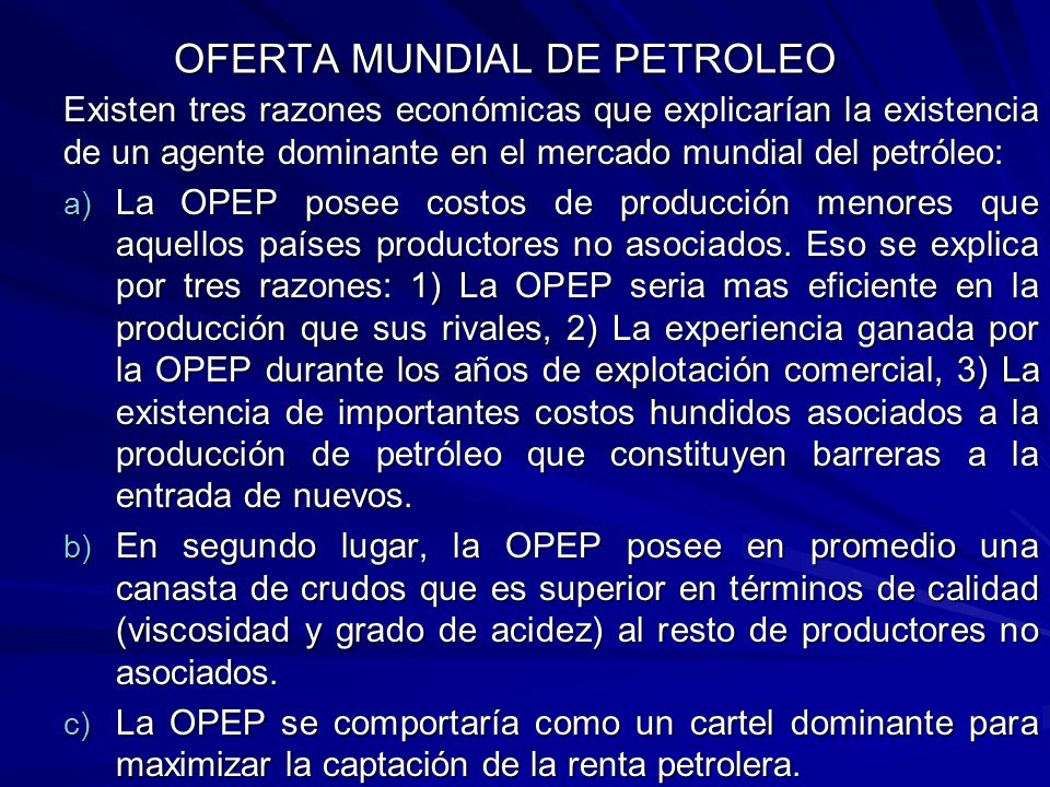OFERTA MUNDIAL DE PETROLEO