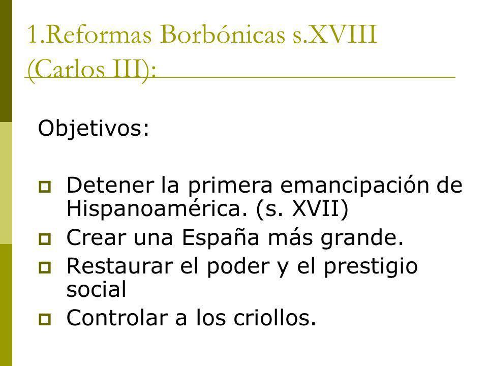 1.Reformas Borbónicas s.XVIII (Carlos III):