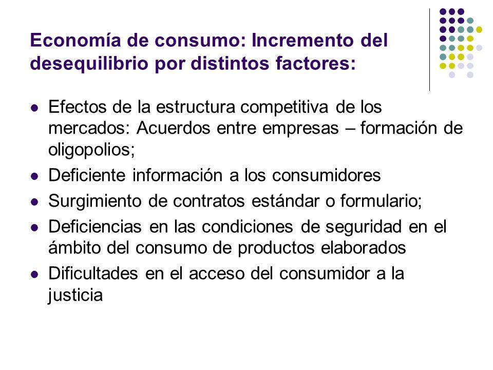 Economía de consumo: Incremento del desequilibrio por distintos factores: