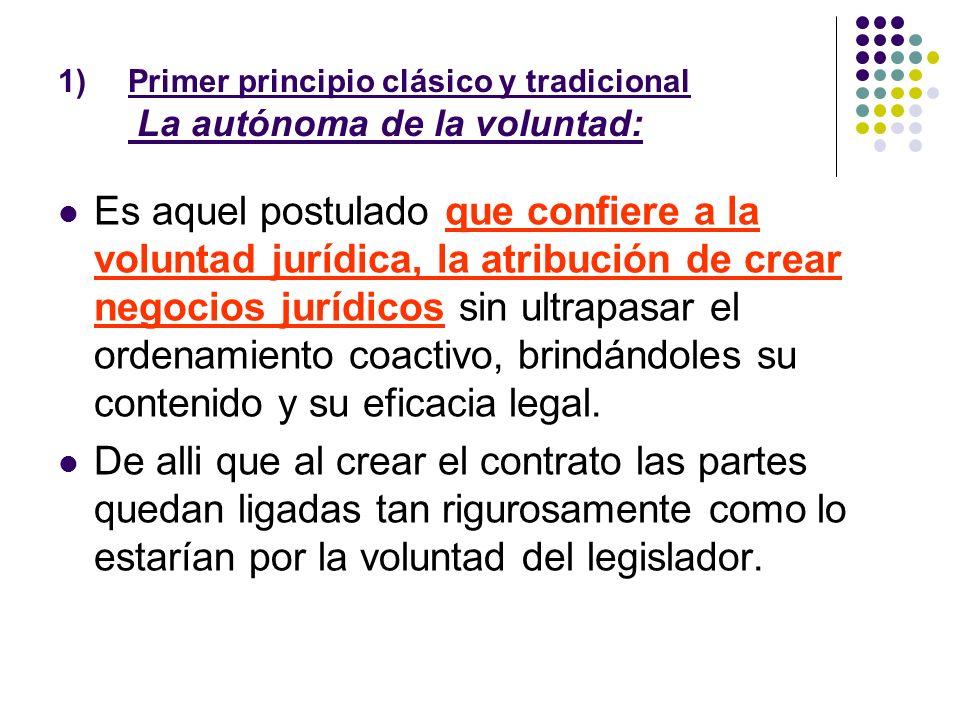 Primer principio clásico y tradicional La autónoma de la voluntad:
