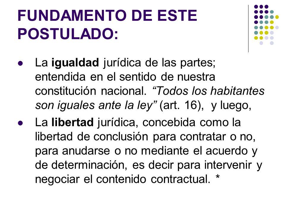 FUNDAMENTO DE ESTE POSTULADO: