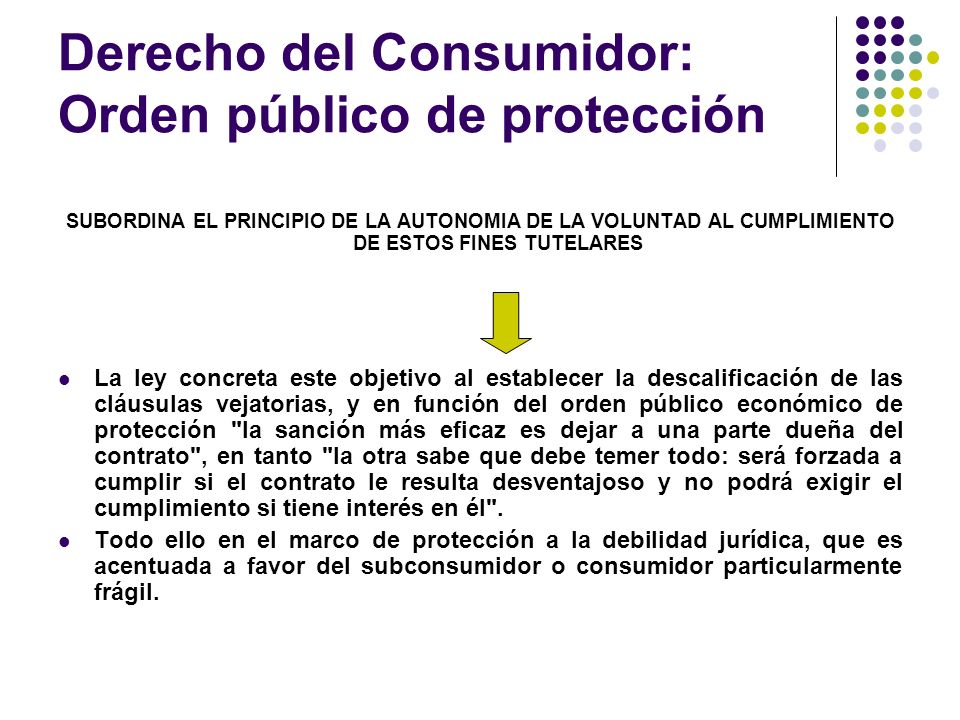 Derecho del Consumidor: Orden público de protección