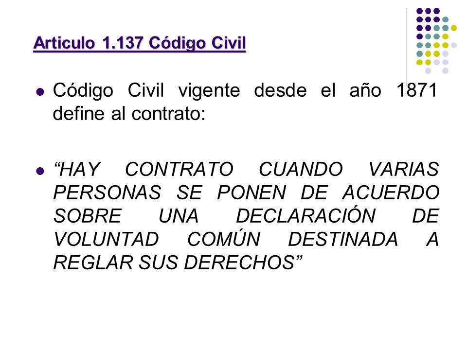 Código Civil vigente desde el año 1871 define al contrato: