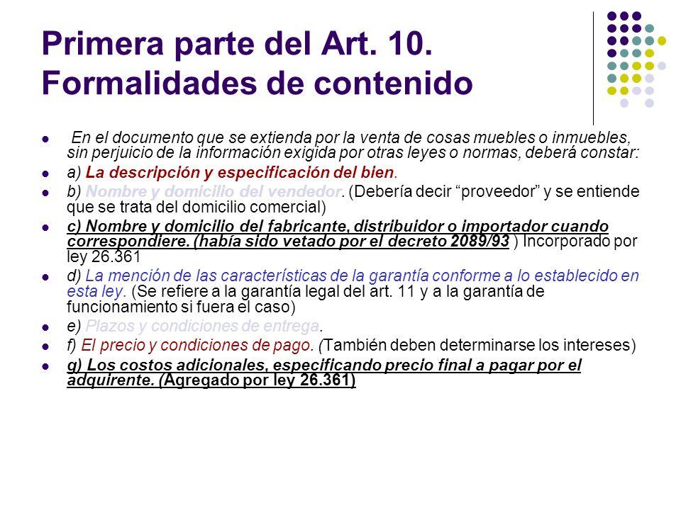 Primera parte del Art. 10. Formalidades de contenido