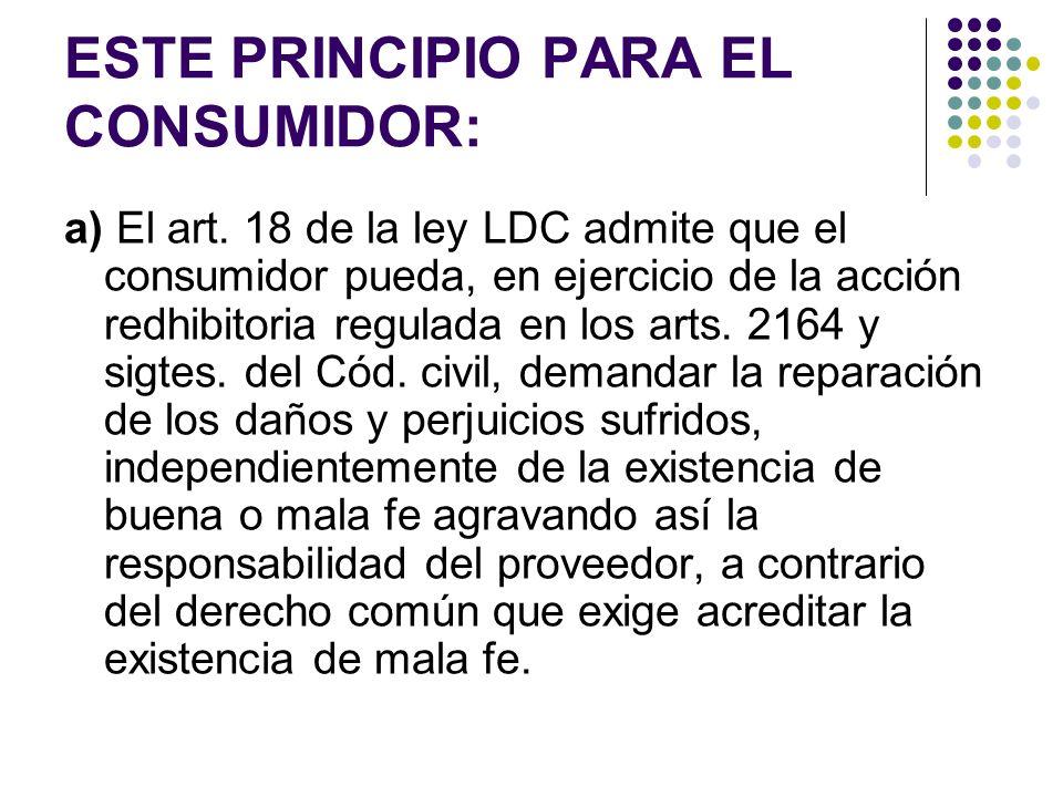 ESTE PRINCIPIO PARA EL CONSUMIDOR: