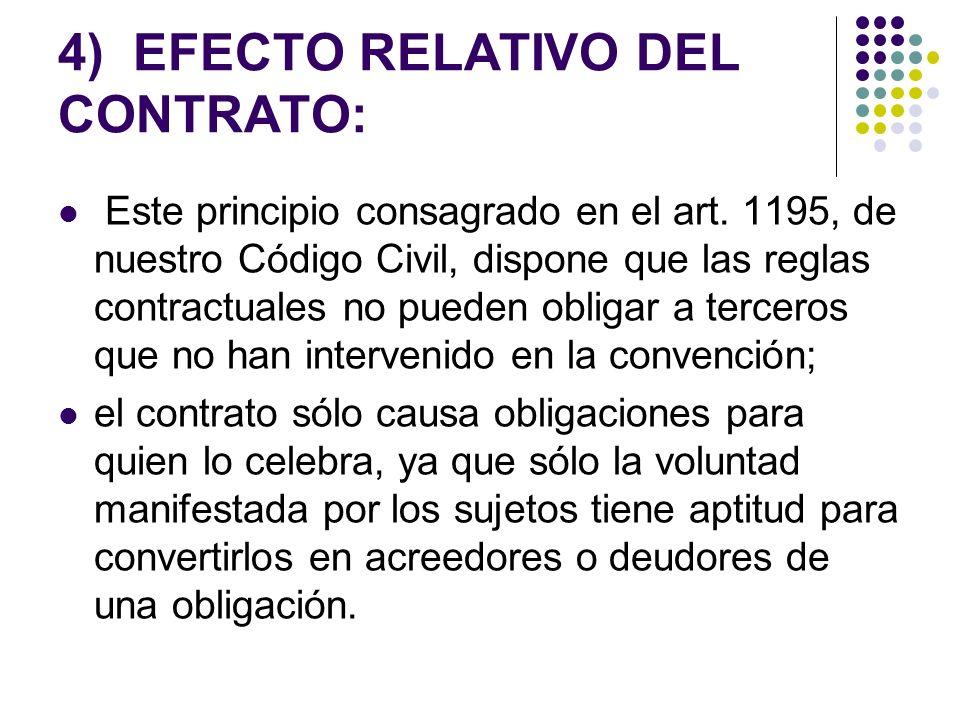 4) EFECTO RELATIVO DEL CONTRATO: