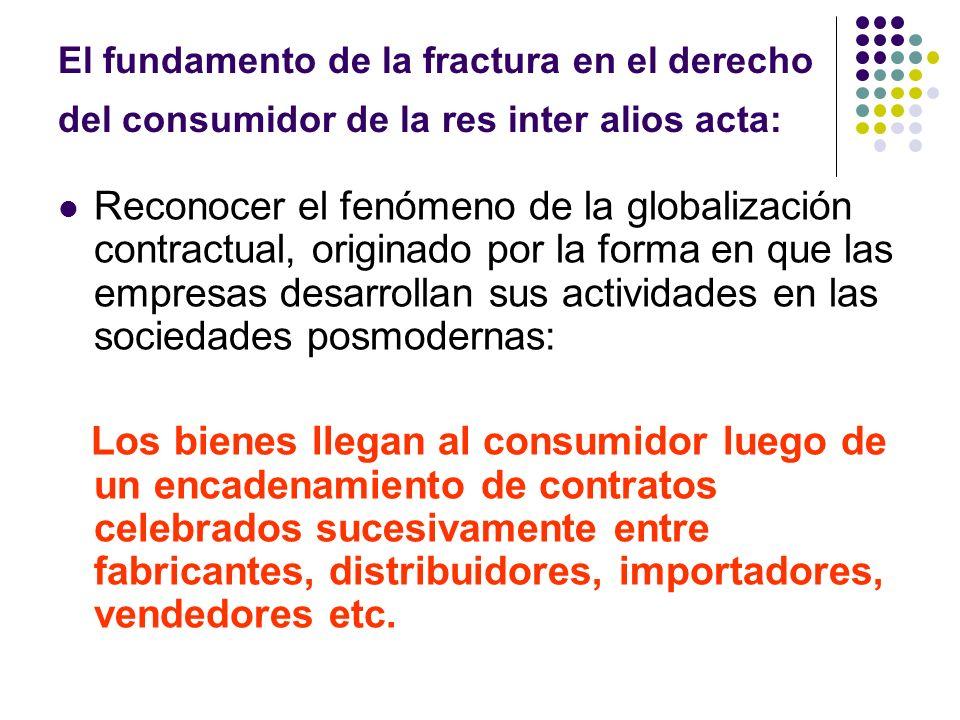 El fundamento de la fractura en el derecho del consumidor de la res inter alios acta: