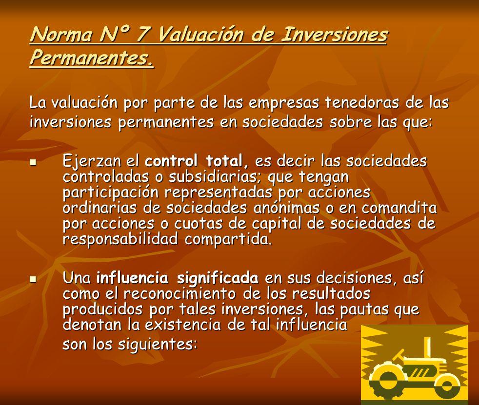 Norma Nº 7 Valuación de Inversiones Permanentes.