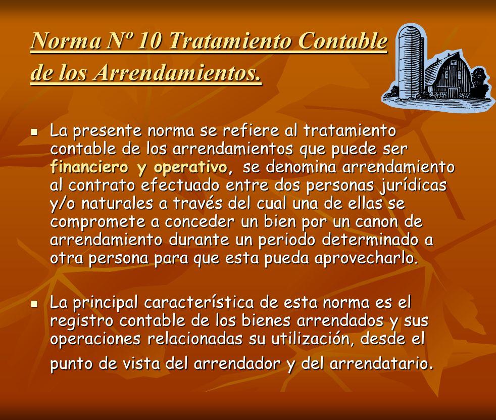 Norma Nº 10 Tratamiento Contable de los Arrendamientos.