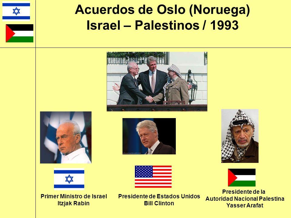 Acuerdos de Oslo (Noruega) Israel – Palestinos / 1993