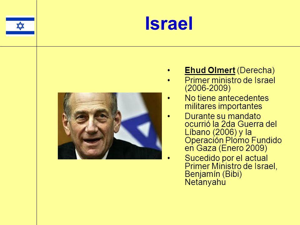 Israel Ehud Olmert (Derecha) Primer ministro de Israel (2006-2009)