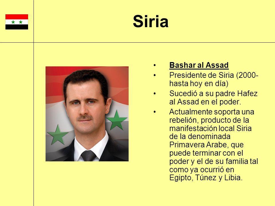 Siria Bashar al Assad Presidente de Siria (2000-hasta hoy en día)